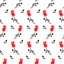 Seamless Red Black Rose Pattern On White, Vector Illustration Wallpaper Background.