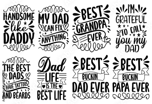 Billede på lærred Dad SVG, dad cut file Bundle, dad quotes  SVG Bundle, dad design vector Cutting