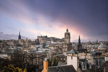 Scotland Edinburgh City Centre Looking From Rooftops Chimneys From High Arial Viewpoint Dawn Sunrise Sunset Town Hall Clock Tower Wide Angle View With Stunning Dramatic Sky Panoramic Cityscape Amazing