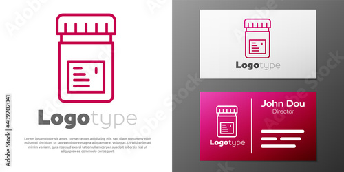 Cuadros en Lienzo Logotype line Biologically active additives icon isolated on white background
