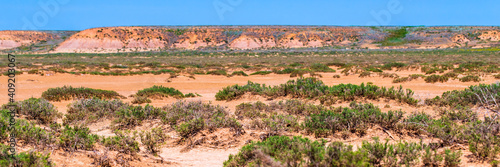 Foto Dry cracked takir soil in semi-desert in Russia. Nature landscape