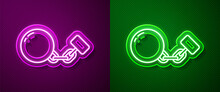 Glowing Neon Line Ball On Chain Icon Isolated On Purple And Green Background. Vector.