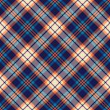 Tartan plaid pattern in blue, orange, beige. Herringbone textured multicolored dark bright check plaid graphic for flannel shirt, skirt, tablecloth, or other modern autumn winter textile print. - 409204494