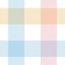 Buffalo Plaid Pattern In Pastel Blue, Pink, Yellow, White. Herrignbone Textured Seamless Light Tartan Check Plaid For Flannel Shirt, Tablecloth, Blanket, Or Other Modern Spring Summer Fabric Design.