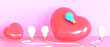 idea Creative Valentine's day in love and White -Blue Bulb light with Red Heart concept on Purple - Pink Background. Caring, minimal, Copy space- 3d rendering