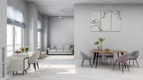 Minimalist white room living room home office backdrop, photorealistic 3D illustration, suitable for video conference and as Zoom virtual background.