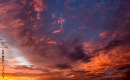 Fototapeta Clouds at sunset, amazing sky, nature background obraz