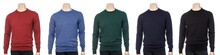 Various Colored Plain Longtsleeve Jerseys On Mannequin Isolated On A White Background