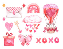 Watercolor Valentines Day Themed Design Elements. Hand Drawn Pink And Red Hearts, Hot Air Balloon, Gift, Love Letter, Bouquet, Butterfly, Isolated On White Background. Holiday Illustration