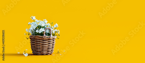 White flowers in wooden basket on yellow spring background 3D Rendering - fototapety na wymiar