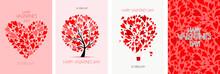 Valentine's Day Card Design. Love Tree, Air Balloon, Heart Shape. Wedding Set. Wallpaper, Flyers, Invitation, Posters, Brochure, Voucher,banners.