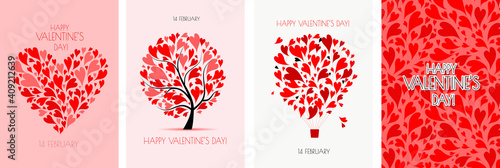 Obraz Valentine's day card design. Love Tree, Air Balloon, Heart shape. Wedding set. Wallpaper, flyers, invitation, posters, brochure, voucher,banners. - fototapety do salonu