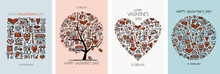 Valentine's Day Card Design. Love Tree, Art Frame, Heart Shape. Wedding Set.