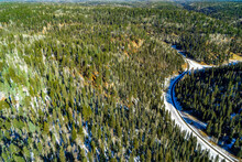 USA, Helicopter Flight Over The Pine Forest In The Grand Canyon National Parc
