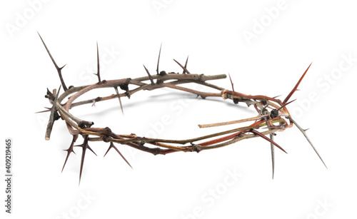 Vászonkép Crown of thorns isolated on white. Easter attribute