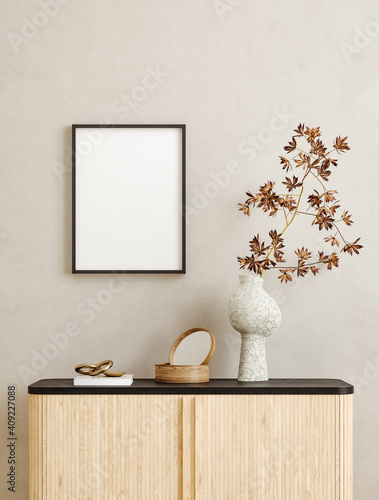Mock up frame in home interior background, Scandi-Boho style, 3d render
