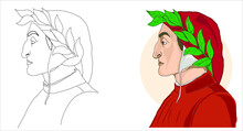 Italian Poet Dante Alighieri Portrait Vector Cartoon
