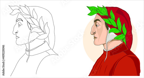 Obraz na plátně Italian poet Dante Alighieri portrait vector cartoon