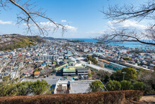吾妻山公園からの二宮町役場方面の眺望