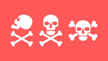 Human Skull In Side And Full Face View And Crossbones On Red Background. Isolated Illustration In Flat Style On A Red Warning Square. Three Sign Poison And Symbol. An Image Of Danger To Humans
