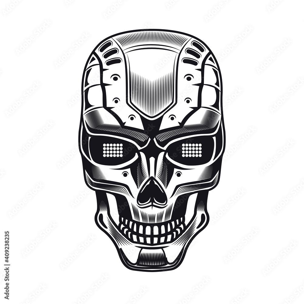 Fototapeta Robots head emblem design. Monochrome element with humanoid skull, cyborg, smart machine vector illustration. Robotics concept for symbols or tattoo templates