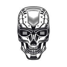 Robots Head Emblem Design. Monochrome Element With Humanoid Skull, Cyborg, Smart Machine Vector Illustration. Robotics Concept For Symbols Or Tattoo Templates