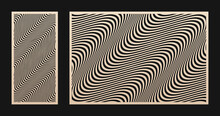 Laser Cut Pattern Set. Vector Design With Abstract Geometric Texture, Waves, Curved Lines, Stripes. Template For Cnc Cutting, Decorative Panels Of Wood, Metal, Acrylic, Paper. Aspect Ratio 1:2, 3:2