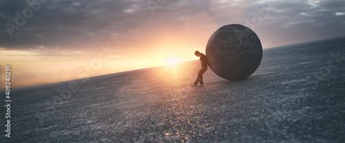 Obraz na plátně Ilustration of a man maintaining a concrete ball, 3d rendering