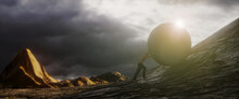 Ilustration Of A Strong Man Pushing A Huge Concrete Ball Uphill, 3d Rendering