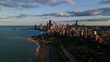 Chicago skyline evening drone aerial footage