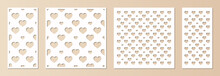 Laser Cut Pattern Set. Vector Template With Romantic Hearts Ornament, Abstract Geometric Grid. Decorative Stencil For Laser Cutting Of Wood, Metal, Paper, Plastic, Engraving. Aspect Ratio 1:1, 1:2
