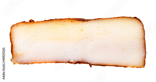 Fotografie, Obraz slice of bacon (pork fatback) salted with paprika isolated on white background
