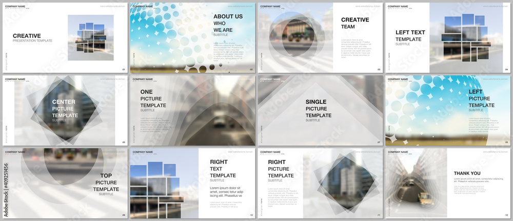 Fototapeta Presentation design vector templates, multipurpose template for presentation slide, flyer, brochure cover design, infographic report presentation. Corporate business concept with abstract ackgrounds.