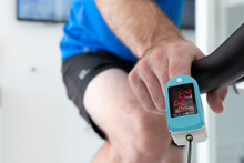 Oxygen Sensor At The Fingertip During A Stress Test On A Bicycle