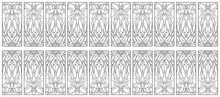 Doors In Classic Style - Stained Glass. Vector Illustration.Abstract Geometric Floral Pattern In A Rectangular Frame / Stained Glass Window In Classic Style For Ceiling Or Door Panels. Tiffany Techniq