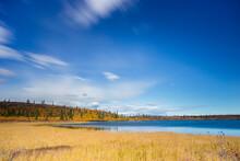 Idyllic View Of Lake Against Blue Sky, Glennallen, Alaska, USA