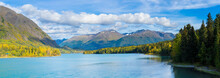 Panoramic Shot Of Kenai Lake, Cooper Landing, Kenai, Alaska, USA