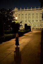 Traveler Near Majestic Palace At Night