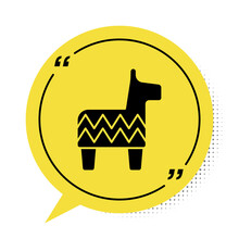 Black Pinata Icon Isolated On White Background. Mexican Traditional Birthday Toy. Yellow Speech Bubble Symbol. Vector.