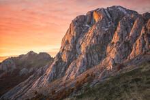 Sunrise Light On The Mountains Rock