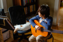 A Boy Looks Out A Window Holding A Guitar Next To A Sleeping Cat