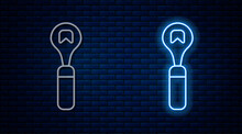 Glowing Neon Line Bottle Opener Icon Isolated On Brick Wall Background. Vector.