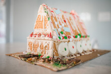 Finished Gingerbread House On Kitchen Counter