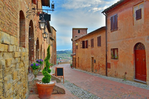 Fototapeta Tuscan medieval village of Certaldo Alto in the province of Florence, Italy
