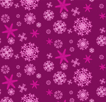 The Pattern Is Seamless From Beautiful, Christmas, Carved, New Year's, Festive Unique Pink And Purple Snowflakes Of Different Shapes And Sizes On A Purple Background. Illustration.