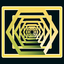 Golden, Yellow With Greenish Retreating Into Infinity, An Abstract Tunnel, A Rectangular And Diamond Shaped Vout On A Black Background. Illustration.