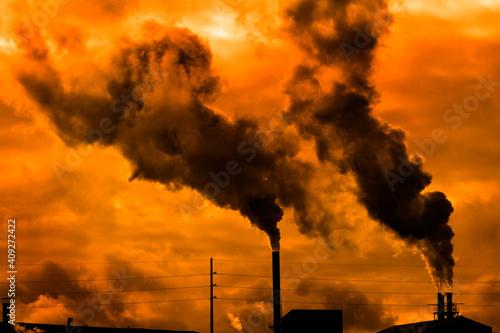 Pollution From Factory Smoke Smokestack Chimney Environment Fototapete