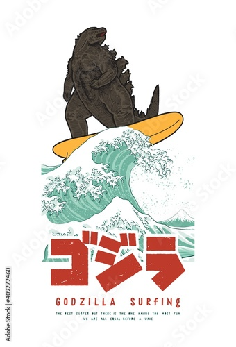 Foto Japanese reptile monster surfing the great wave off Kanagawa funny t-shirt print with Japanese and english typography