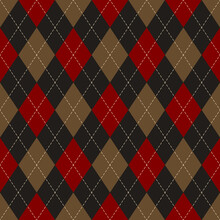 Argyle Pattern In Black, Brown, Red. Traditional Geometric Vector Argyll Dark Background For Gift Wrapping, Socks, Sweater, Jumper, Or Other Modern Autumn Winter Classic Fashion Textile Print.