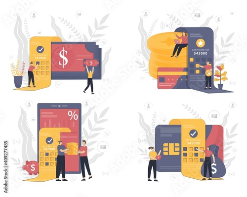 Fotomural Set of Instant loan vector illustration concept with people working